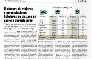 (Español) El número de viajeros y pernoctaciones hoteleras se disparó en Zamora durante junio